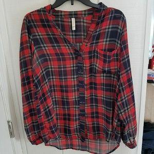 Xhilaration plaid blouse button down